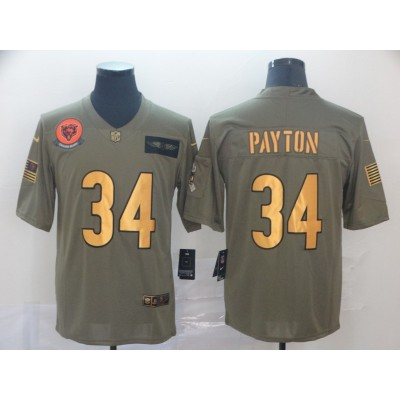 Nike Bears 34 Walter Payton 2019 Olive Gold Salute To Service Limited Men Jersey