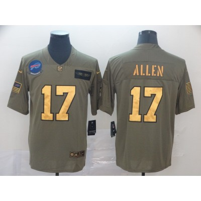 Nike Bills 17 Josh Allen 2019 Olive Gold Salute To Service Limited Men Jersey