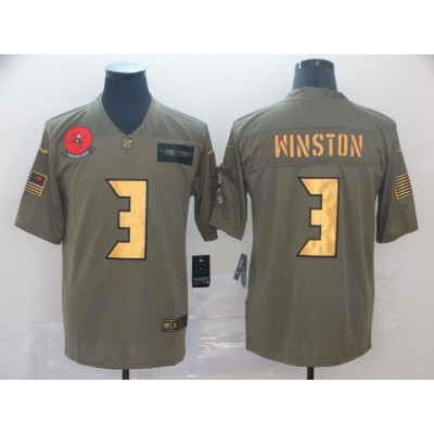 Nike Buccaneers 3 Jameis Winston 2019 Olive Gold Salute To Service Limited Men Jersey