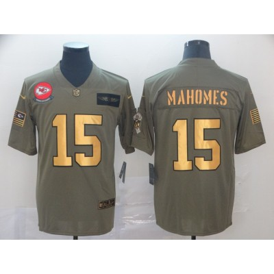 Nike Chiefs 15 Patrick Mahomes 2019 Olive Gold Salute To Service Limited Men Jersey