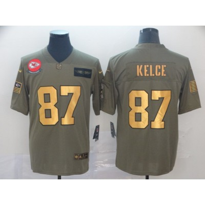 Nike Chiefs 87 Travis Kelce 2019 Olive Gold Salute To Service Limited Men Jersey