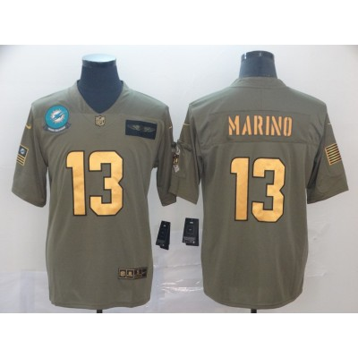 Nike Dolphins 13 Dan Marino 2019 Olive Gold Salute To Service Limited Men Jersey