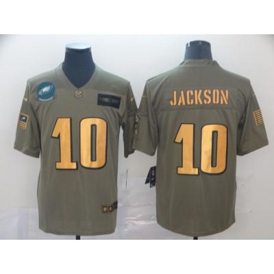 Nike Eagles 10 DeSean Jackson 2019 Olive Gold Salute To Service Limited Men Jersey