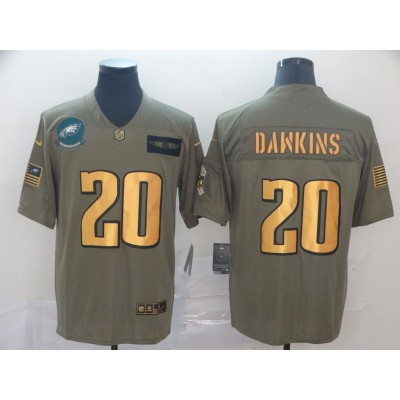 Nike Eagles 20 Brian Dawkins 2019 Olive Gold Salute To Service Limited Men Jersey