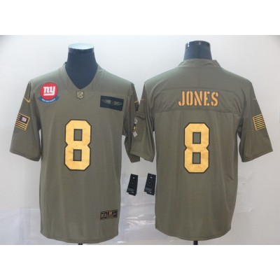 Nike Giants 8 Daniel Jones 2019 Olive Gold Salute To Service Limited Men Jersey
