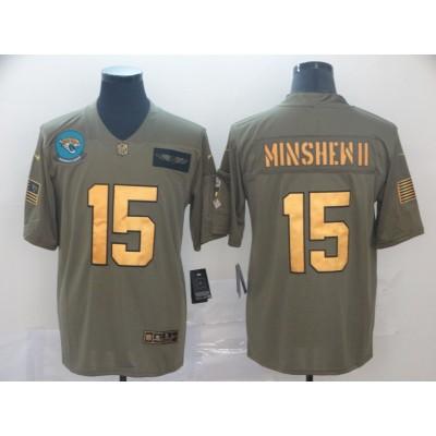 Nike Jaguars 15 Gardner Minshew II 2019 Olive Gold Salute To Service Limited Men Jersey