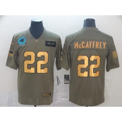 Nike Panthers 22 Christian McCaffrey 2019 Olive Gold Salute To Service Limited Men Jersey