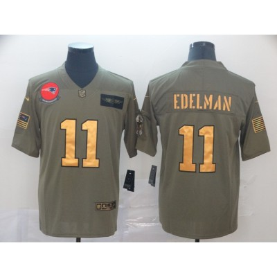 Nike Patriots 11 Julian Edelman 2019 Olive Gold Salute To Service Limited Men Jersey