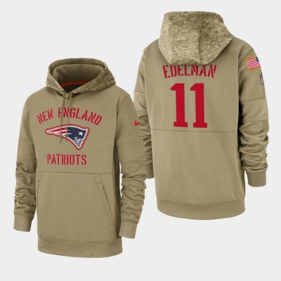 Nike Patriots 11 Julian Edelman Tan 2019 Salute To Service Sideline Therma Pullover Hoodie