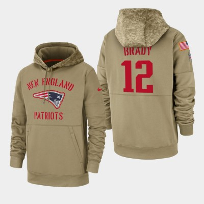 Nike Patriots 12 Tom Brady Tan 2019 Salute To Service Sideline Therma Pullover Hoodie