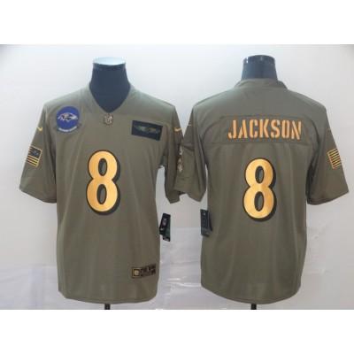 Nike Ravens 8 Lamar Jackson 2019 Olive Gold Salute To Service Limited Men Jersey