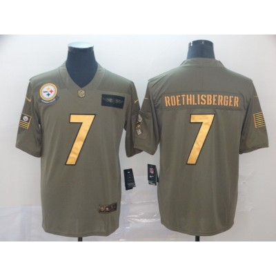 Nike Steelers 7 Ben Roethlisberger 2019 Olive Gold Salute To Service Limited Men Jersey