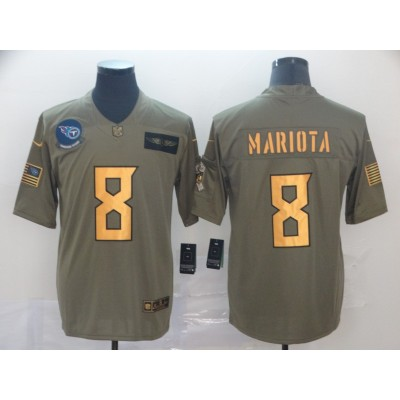Nike Titans 8 Marcus Mariota 2019 Olive Gold Salute To Service Limited Men Jersey