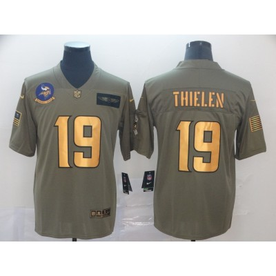 Nike Vikings 19 Adam Thielen 2019 Olive Gold Salute To Service Limited Men Jersey
