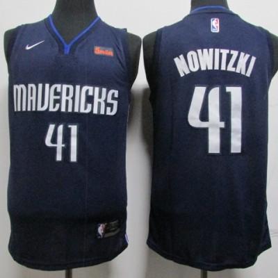 NBA Mavericks 41 Dirk Nowitzki Navy Nike Men Jersey