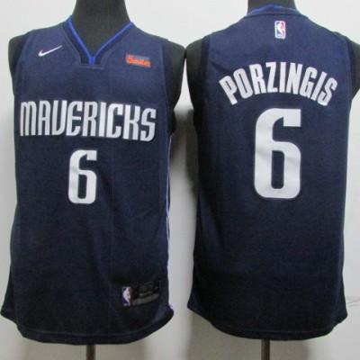 NBA Mavericks 6 Kristaps Porzingis Navy Nike Men Jersey