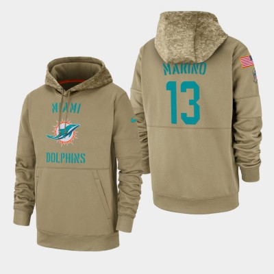 Nike Miami Dolphins 13 Dan Marino Tan 2019 Salute To Service Sideline Therma Pullover Hoodie
