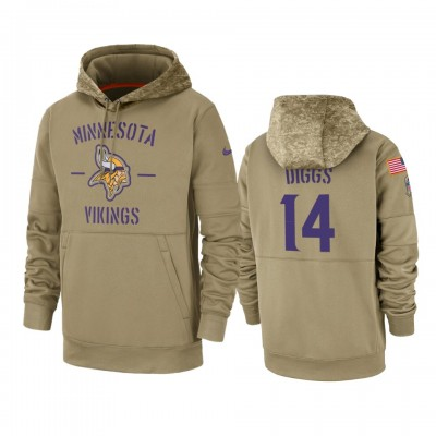 Nike Minnesota Vikings 14 Stefon Diggs Tan 2019 Salute to Service Sideline Therma Pullover Hoodie