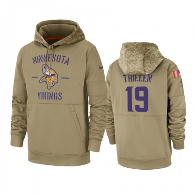 Nike Minnesota Vikings 19 Adam Thielen Tan 2019 Salute to Service Sideline Therma Pullover Hoodie