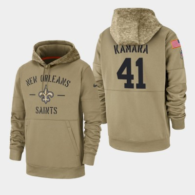 Nike New Orleans Saints 41 Alvin Kamara Tan 2019 Salute To Service Sideline Therma Pullover Hoodie