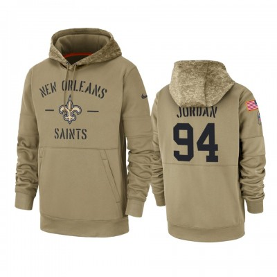 Nike New Orleans Saints 94 Cameron Jordan Tan 2019 Salute to Service Sideline Therma Pullover Hoodie