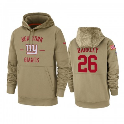 Nike New York Giants 26 Saquon Barkley Tan 2019 Salute to Service Sideline Therma Pullover Hoodie