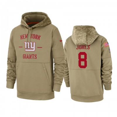Nike New York Giants 8 Daniel Jones Tan 2019 Salute to Service Sideline Therma Pullover Hoodie
