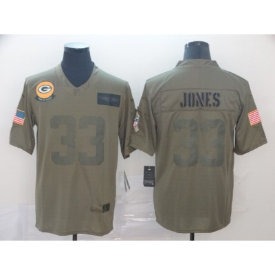 Nike Packers 33 Aaron Jones 2019 Oliv Salute To Service Limited Men Jersey
