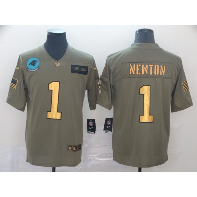 Nike Panthers 1 Cam Newton 2019 Gold Olive Salute To Service Limited Men Jersey