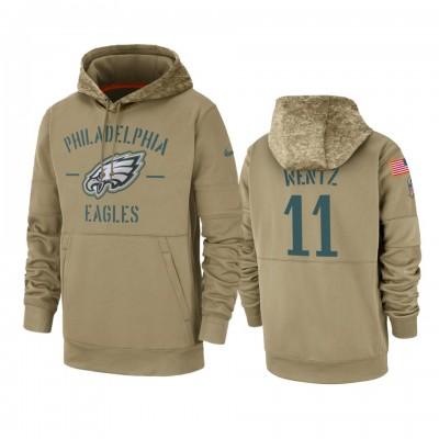 Nike Philadelphia Eagles 11 Carson Wentz Tan 2019 Salute to Service Sideline Therma Pullover Hoodie