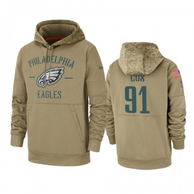 Nike Philadelphia Eagles 91 Fletcher Cox Tan 2019 Salute to Service Sideline Therma Pullover Hoodie