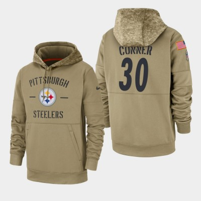 Nike Pittsburgh Steelers 30 James Conner Tan 2019 Salute To Service Sideline Therma Pullover Hoodie