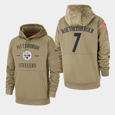 Nike Pittsburgh Steelers 7 Ben Roethlisberger Tan 2019 Salute To Service Sideline Therma Pullover Hoodie
