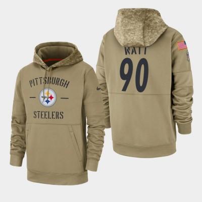Nike Pittsburgh Steelers 90 T. J. Watt Tan 2019 Salute To Service Sideline Therma Pullover Hoodie