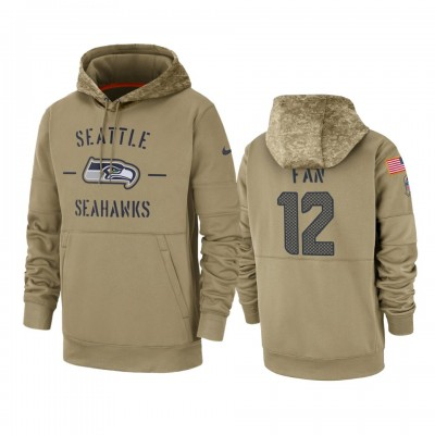 Nike Seattle Seahawks 12 12th Fan Tan 2019 Salute to Service Sideline Therma Pullover Hoodie