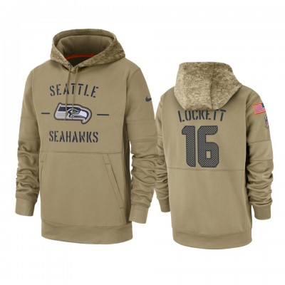 Nike Seattle Seahawks 16 Tyler Lockett Tan 2019 Salute to Service Sideline Therma Pullover Hoodie
