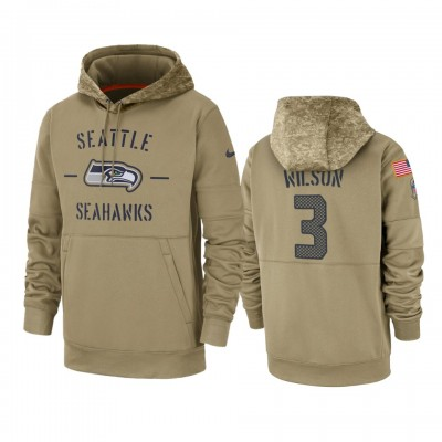 Nike Seattle Seahawks 3 Russell Wilson Tan 2019 Salute to Service Sideline Therma Pullover Hoodie