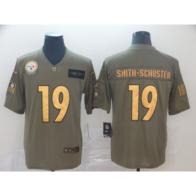 Nike Steelers 19 JuJu Smith Schuster 2019 Gold Olive Salute To Service Limited Men Jersey