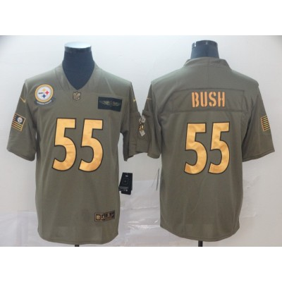 Nike Steelers 55 Devin Bush 2019 Gold Olive Salute To Service Limited Men Jersey