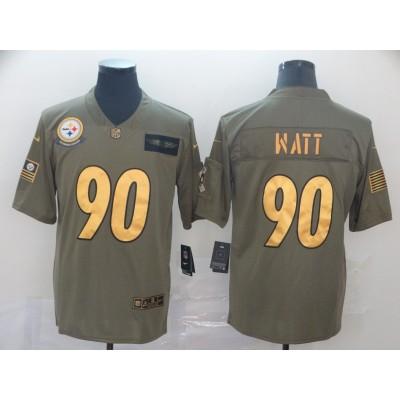 Nike Steelers 90 T. J. Watt 2019 Gold Olive Salute To Service Limited Men Jersey