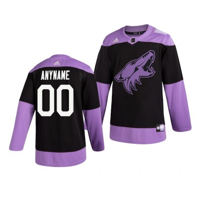 NHL Coyotes Customized Black Purple Hockey Fights Cancer Adidas Men Jersey
