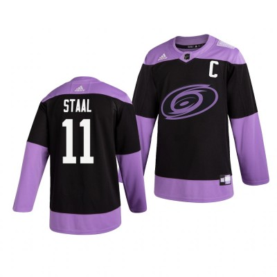 NHL Hurricanes 11 Jordan Staal Black Purple Hockey Fights Cancer Adidas Men Jersey