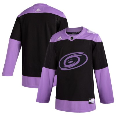 NHL Hurricanes Blank Black Purple Hockey Fights Cancer Adidas Men Jersey