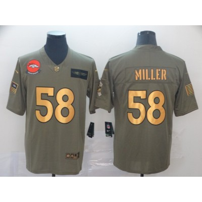 Nike Broncos 58 Von Miller 2019 Gold Olive Salute To Service Limited Men Jersey
