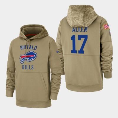 Nike Buffalo Bills 17 Josh Allen Tan 2019 Salute To Service Sideline Therma Pullover Hoodie