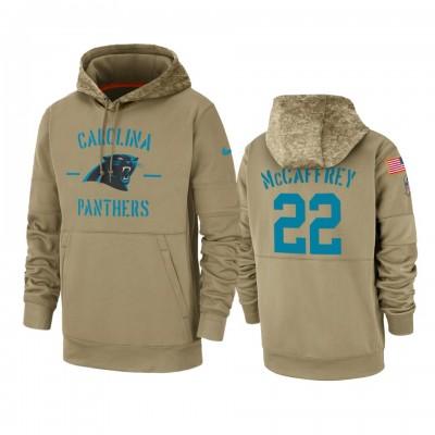 Nike Carolina Panthers 22 Christian McCaffrey Tan 2019 Salute to Service Sideline Therma Pullover Hoodie
