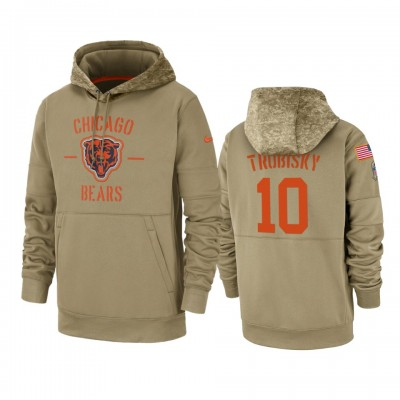 Nike Chicago Bears 10 Mitchell Trubisky Tan 2019 Salute to Service Sideline Therma Pullover Hoodie