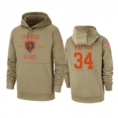 Nike Chicago Bears 34 Walter Payton Tan 2019 Salute to Service Sideline Therma Pullover Hoodie