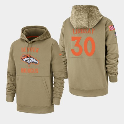 Nike Denver Broncos 30 Phillip Lindsay Tan 2019 Salute To Service Sideline Therma Pullover Hoodie