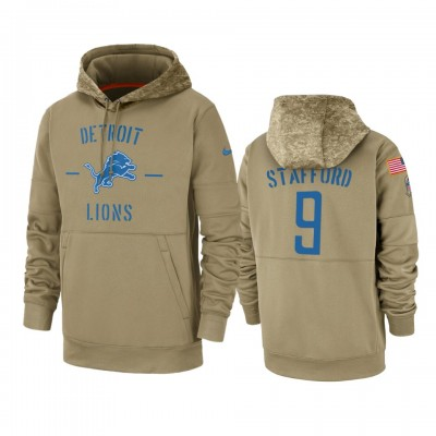 Nike Detroit Lions 9 Matthew Stafford Tan 2019 Salute to Service Sideline Therma Pullover Hoodie